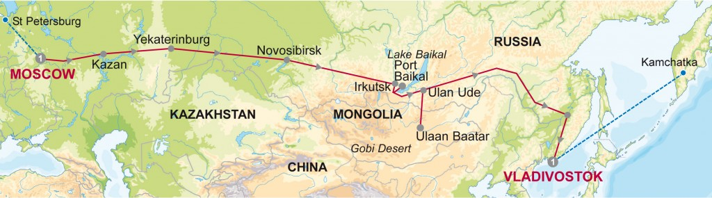Route Map for Moscow to Vladivostock on the trans-siberian express.