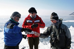Vodka shots on the frozen Lake Baikal !
