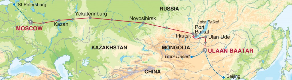 Route Map for Moscow to Ulaan Baatar on the trans-mongolian express, via the Naadam Festival